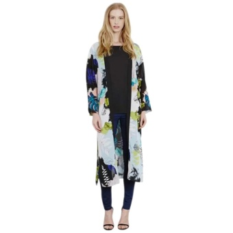 2016 New Floral Print Kimono Cardigan Long Beach Top Cover Up Jacket XL - intl