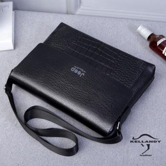 2017 Men's Leather Crossbody Bag One Shoulder Bag Business Casual Bag For Ipad (Horizontal Black