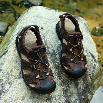2017 Baru Musim Panas Pria Flat Leather Slipper Sandal Sandal Hiking S2686 (Dark Brown)