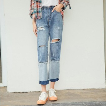 Spring Korean Fashion Boyfriend Style Women High-Waist Ripped Jeans Joint Loose Straight Denim Pants