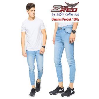 2Nd Red Celana Jogger Jeans Premium Biru Muda - Eksis Collection 112607