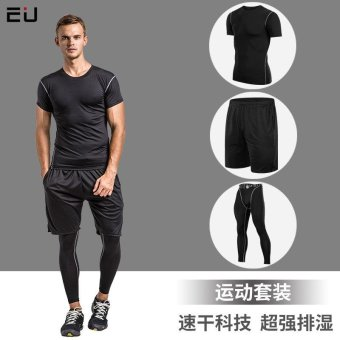 3 Buah Set Pria Summer Cepat Dry Running Pelatihan Gym Olahraga Kemeja Celana Pendek Dan Celana Seragam Set - Black (331821)