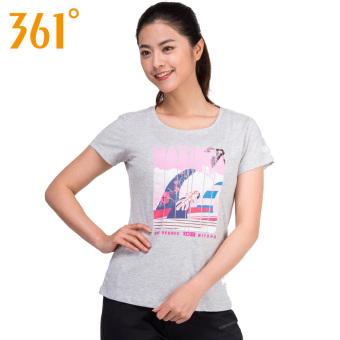 Harga 361 derajat musim gugur baru perempuan leher bulat celana bernapas lengan pendek t-shirt (String bunga berwarna abu-abu-t-shirt) Ori