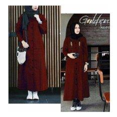 369 Long Dress Casual Wanita Bahan Katun Kotak Merah Hitam (Tanpa Pashmina)