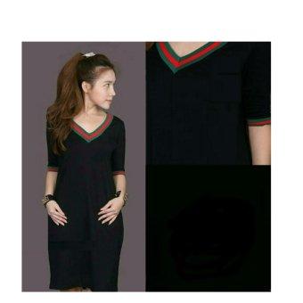 369 Mini Sexy Dress Casual Wanita Motif V Neck Bahan Babyterry - Hitam