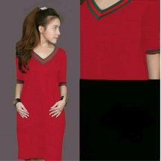 369 Mini Sexy Dress Casual Wanita Motif V Neck Bahan Babyterry - Merah
