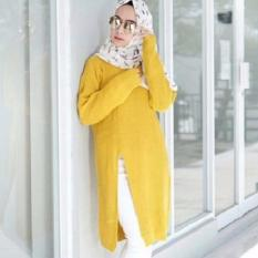 3K Baju Muslim - Slit Sweater Tunic - Rajut Premium - Kuning Lime