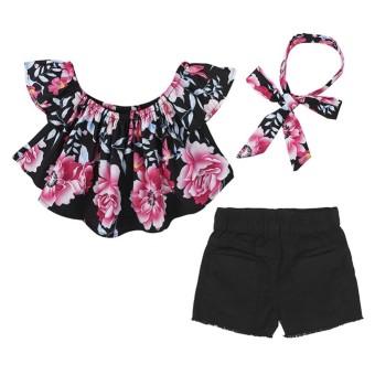 Kidlove 3 Pcs Gadis Musim Panas Pakaian Set Mati-Bahu Atasan Rusak Lubang Denim Celana