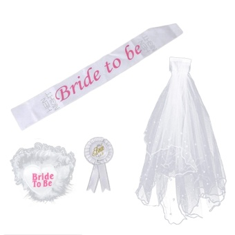harga 4 PCS Bride to Be Party Decoration Set Sash Garter Badge Veil withComb for Bridal Shower Party Hen Night Bachelorette Party Supply -intl Lazada.co.id