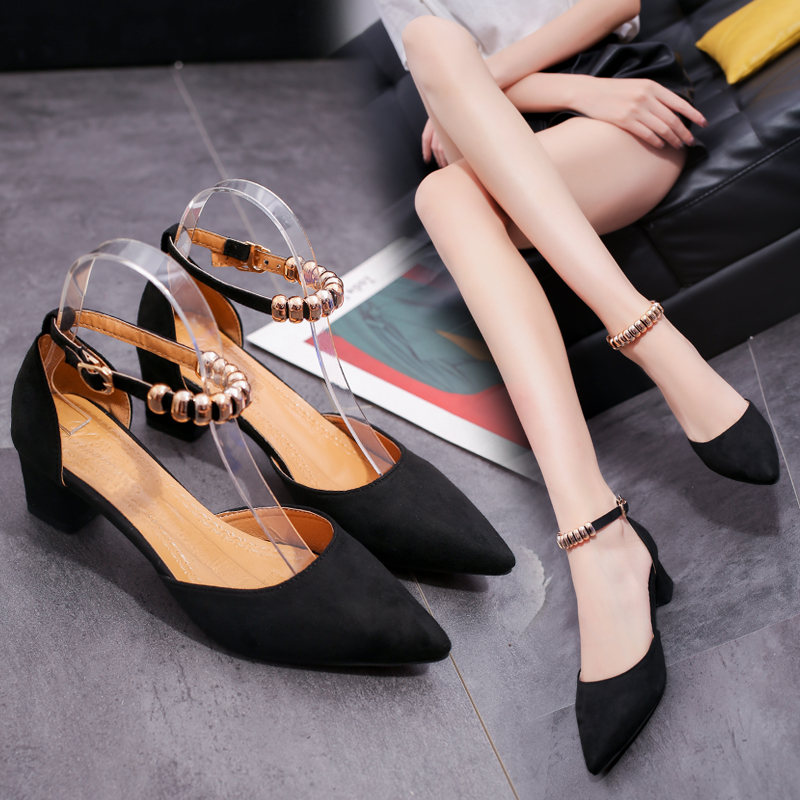 5 cm Korean-style suede elegant pointed semi-high heeled shoes (Hitam)