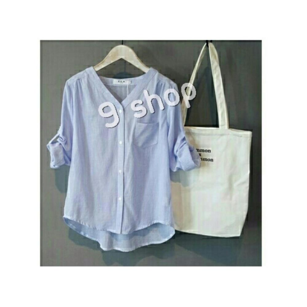 Bandingkan Toko 9 Shop Kemeja Salur Wanita Mona - BLUE   Atasan Wanita   Blouse  Wanita c33009ab24