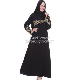 Abaya Shiraz Jetblack Saudi Bordir Gold Black