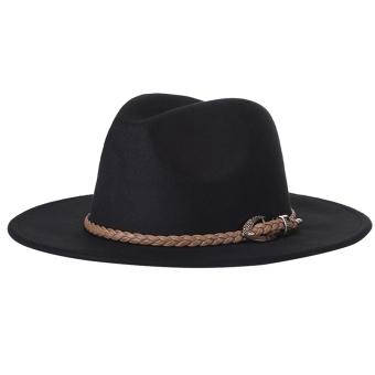 Adapula wol topi Fedora aksesori kostum dengan disesuaikan dengan ikat  pinggang (hitam) - International 1aae6bc688