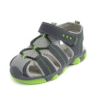 Ai Home Children Velcro Beach Shoes Sports Sandals Water Shoes(Green+Grey) - intl