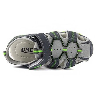 Ai Home Children Velcro Beach Shoes Sports Sandals Water Shoes(Green+Grey) - intl - 3
