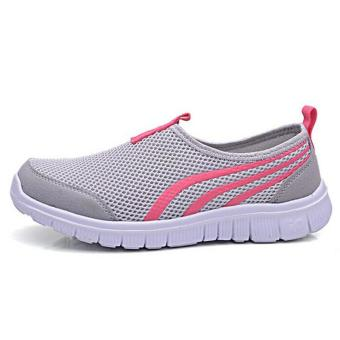 Ai Home Terbaru Fashion Wanita sepatu olahraga lari santai Sepatu Lari Berjalan ada lubang udaranya datar Abu-Abu Muda