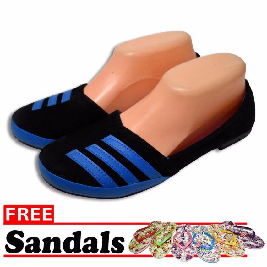Aintan Flat Shoes Develop 53 Sepatu Balet hitam biru Free Sandals prev .
