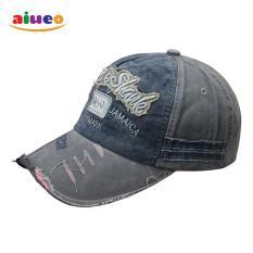 AIUEO Topi Pria Wanita Fashion Outdoors Unisex Letter Retro Fashion Vintage Caps Baseball Golf Cotton Adjustable Headpiece RockShank - Abu2 Biru