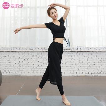 Aixiabu perempuan musim gugur dan musim dingin pakaian kinerja pakaian pakaian yoga (Lengan pendek A6608M hitam + X6408M hitam)