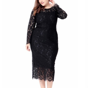 AIYIGU Berkualitas Tinggi Baru Feminino Fashion Jurk Mid-Calf Lace Vestidos Elegan Berlengan Panjang Melubangi