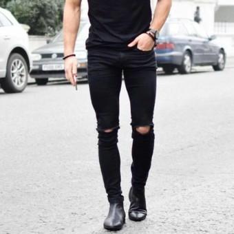Cek Harga Baru Ajoe Celana Jeans Pria Sobek Ripped Strecth Model