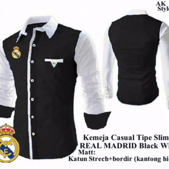 Ak-33 Kemeja Real Madrid Black White Katun Stretch Akiko Fashion