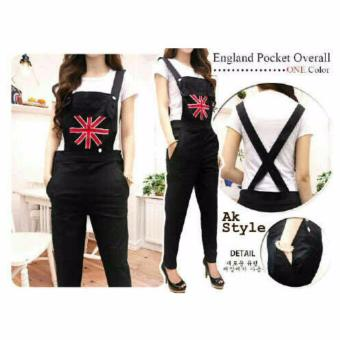 AK - Jumsuit England - Black + inner Combi Bordir Akiko Fashion