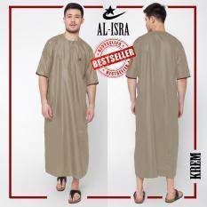 Al-Isra JUBAH ARABI Pakaian Muslim Gamis Pria Tangan Pendek (Krem)