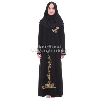 Al Khatib Abaya Gamis Baju Muslim Detty Bordir Gold Jetblack Hitam - 2