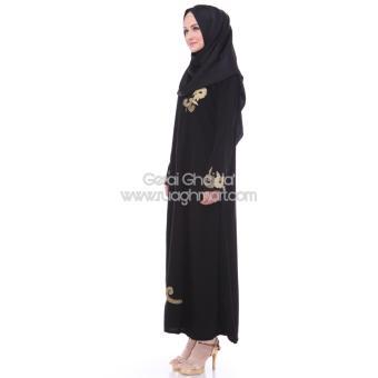 Al Khatib Abaya Gamis Baju Muslim Detty Bordir Gold Jetblack Hitam - 3