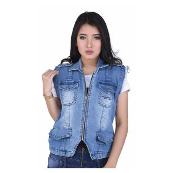 Aleganza New Item Jaket Rompi Denim Stylish Wanita Dknz 640 [Biru]