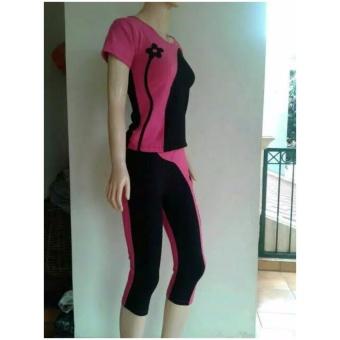 Aleizha Baju Senam bahan Full Cotton Spandex Super - Pink Hitam - 2