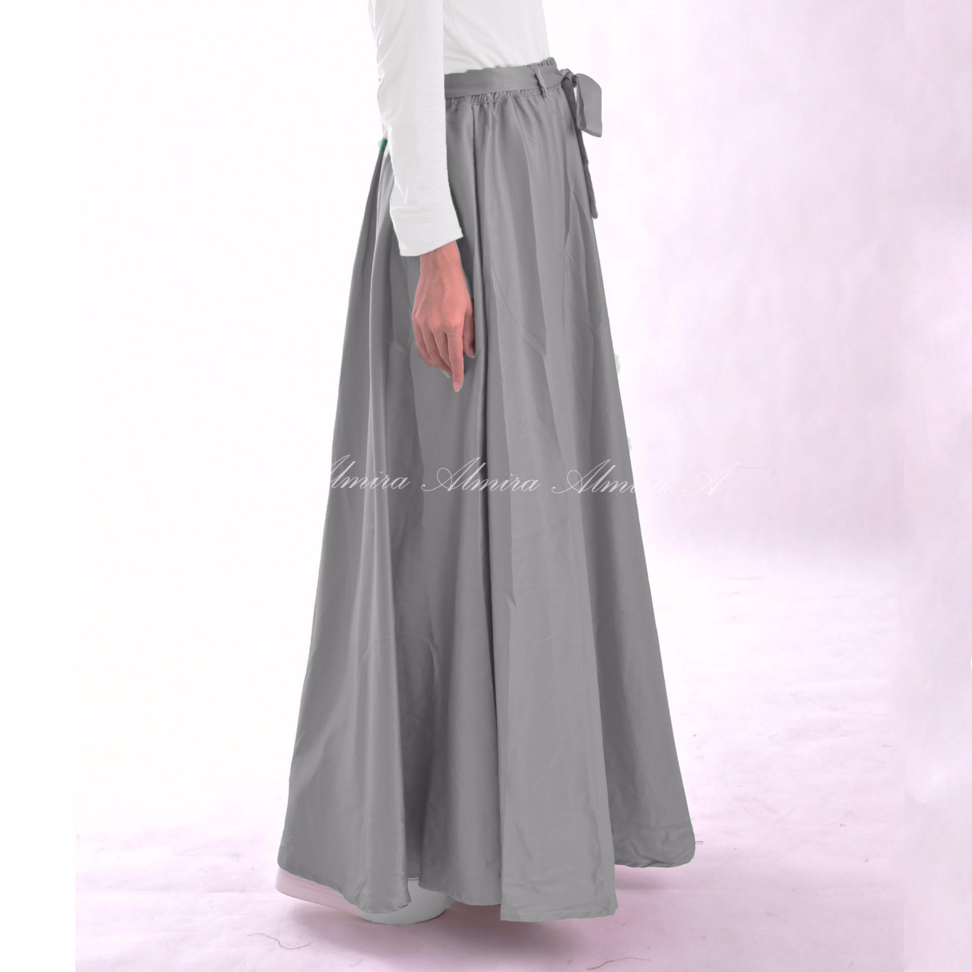 Almira Rok Panjang Wanita Velvet Abu ...