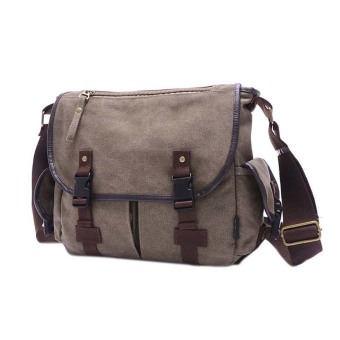 Amart Canvas Crossbody Bag Men Vintage Messenger Bags Travel Shoulder Bag(Khaki)