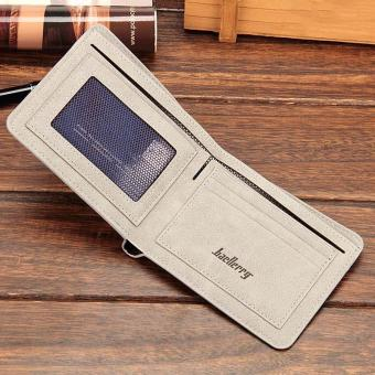 Amart Fashion dompet koin pria Korea dompet pendek kasual kulit PU warna Solid vintage wadah kartu uang - 5