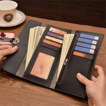 Amart Fashion dompet panjang wanita Korea tas genggam kulit dompet beritsleting wadah kartu koin untuk hadiah - 2