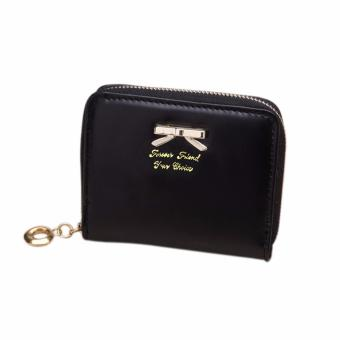 Amart Fashion Lovely Purse Women Wallets Short Small Bag PU LeatherCard Hold( Black) - Intl