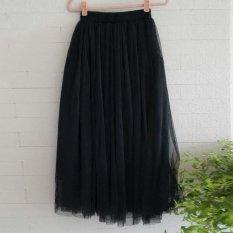 Amart Fashion rok panjang wanita Multi lapis berlubang lurus berpinggang elastis