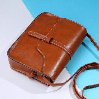 Amart Fashion Wanita Tas Tangan Kecil Kulit PU Selempang Jinjing Tas Vintage Tas Bahu (Coklat