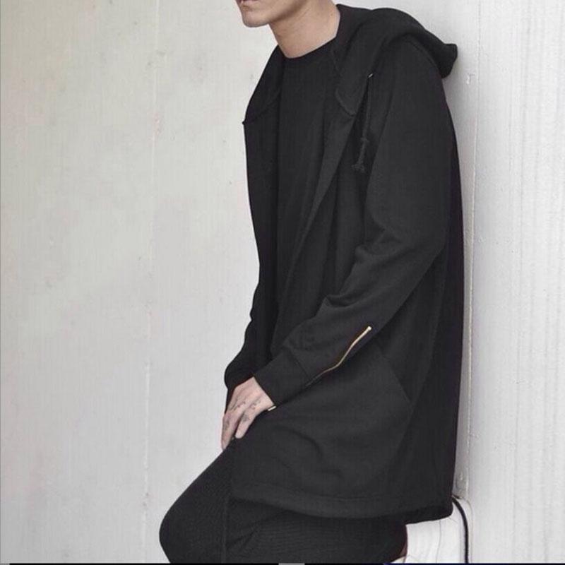 Amart gaun bertudung pria mantel Hip Hop kaus longgar jubah lengan panjang musim dingin musim gugur