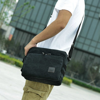 Amart Korean Canvas Mens ShoulderBag Handbag Crossbody Messenger Sling Bags(Black) - intl - 2