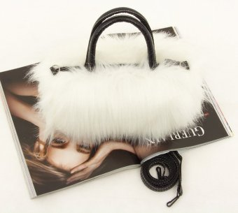 Amart Lady Fashion PU Leather Faux Fur Handbag Shoulder Bag White - intl