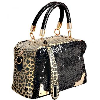 Amart Leopard Sequins Sling Shoulder Bag Handbag Cross BodyBag(Black) - Intl