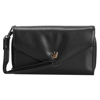 Amart Lovely Crown Clutches PU Leather Wallet Portable Mobile Phone Bag(Black) - intl