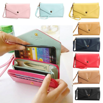 Amart Lovely Crown Clutches PU Leather Wallet Portable Mobile Phone Bag(Blue) - intl