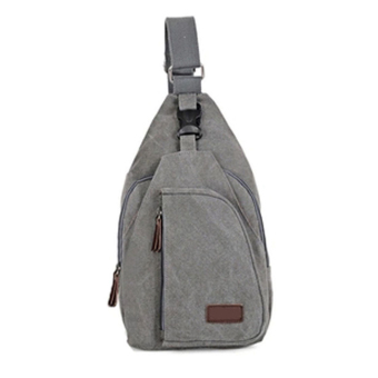 Amart Man's Outdoor Sport Chest Bag Canva Cross-body Shoulder Bag(Grey M) - intl