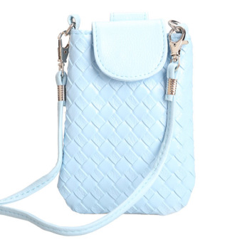 Amart Phone Shoulder Bags Clutch Bag Knitting Bag for iphone 4s/5/5s/MP3/4( Blue) - Intl