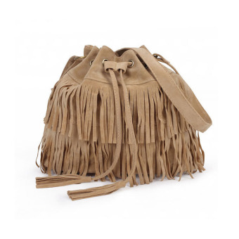 Amart Retro Fringed Drawstring Bucket Tassel Shoulder Bag Women's Bags(Beige) - intl