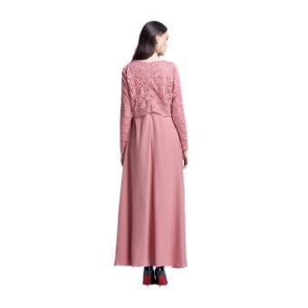 Amart wanita Muslim lengan panjang Maxi gaun renda pakaian jubahMaroko (berwarna merah muda) - International - 4
