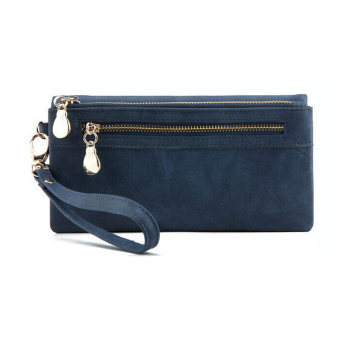Amart Women Clutch Bag Leather Long Wallet Handbag Purse(Blue) - intl